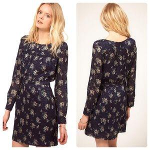 See by Chloe Blue Floral Silk Long Sleeve Dress